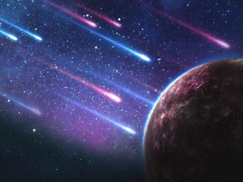 Bir gezenin üzerine yağan asteroitler. Motivasyon ve hayalleri simgeliyor.