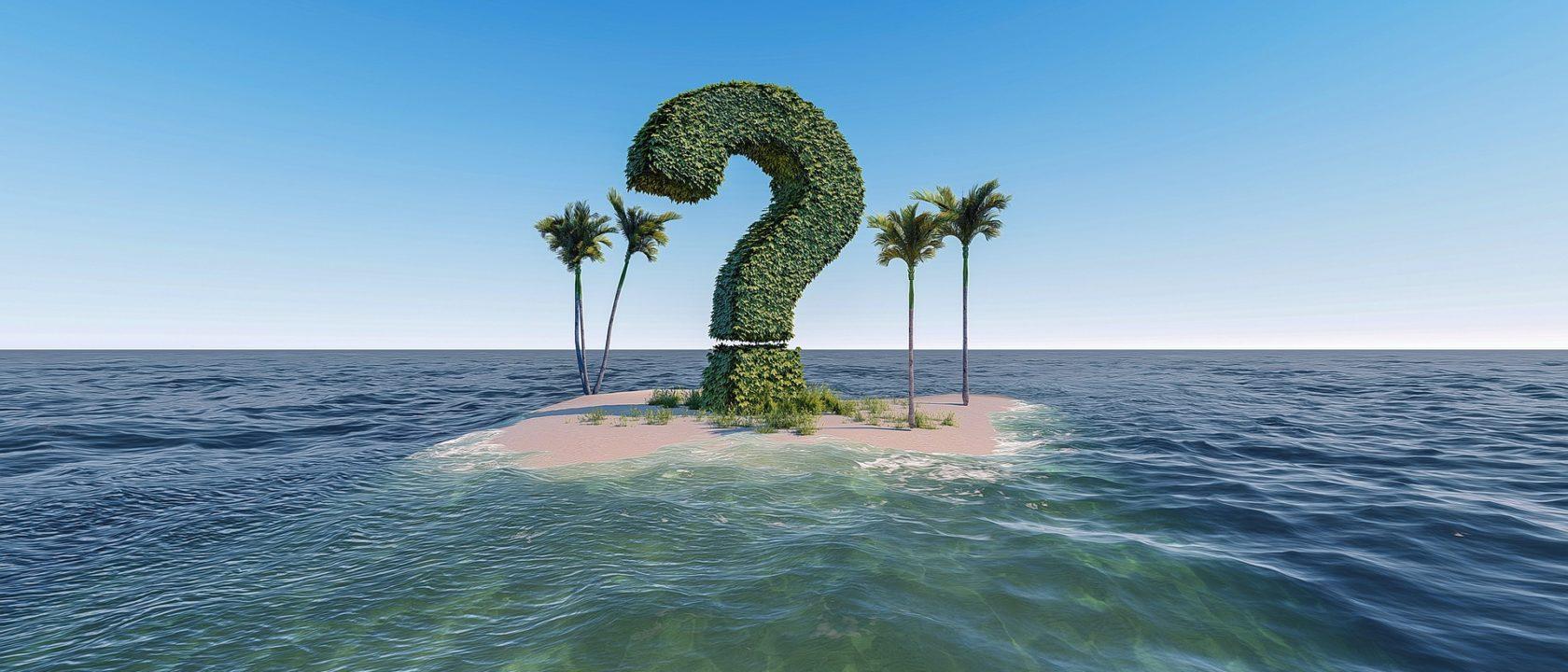 Kadınların tuzak soruları bir adada soru işareti görseliyle anlatılmış.