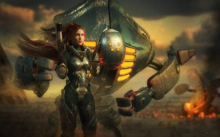 Büyük bir robotun önünde duran savaşçı kız etrafa bakıyor.